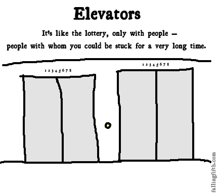 Then again, there's a better chance of finding money on an elevator than of winning money by entering the lottery.